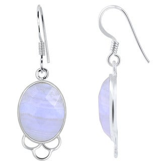 Orchid Jewelry 925 Sterling Silver 15.70ct TGW Genuine Blue Lace Agate Earring