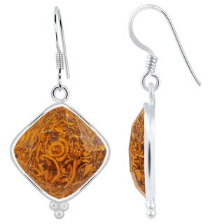 Orchid Jewelry Sterling Silver 18 1/4 Carat Genuine Miriam Jasper Cushion Dangle Earrings