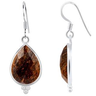 Orchid Jewelry 925 Sterling Silver 17.60ct TGW Genuine Bronzite Jasper Earring