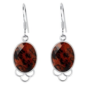 Orchid Jewelry 925 Sterling Silver 13.00 Carat Genuine Mahogany Obsidian Earrings