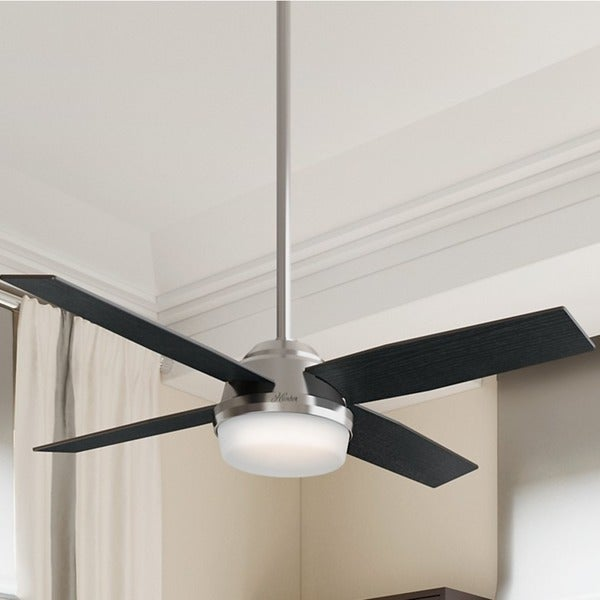 Hunter Fan Dempsey Collection 52 inch Brushed Nickel with 4 Black Oak or Chocolate Oak Reversible Blades - Silver