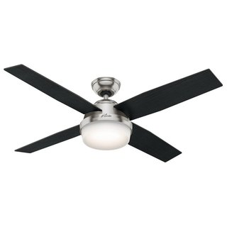 Hunter Fan Dempsey Collection 52 inch Brushed Nickel with 4 Black Oak or Chocolate Oak Reversible Blades