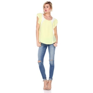 Stanzino Women's Ruffled Short Sleeve Chiffon Top with Lace Accents