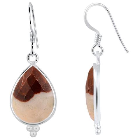 Outback Jasper Sterling Silver Pear Dangle Earrings by Orchid Jewelry