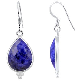 Orchid Jewelry Sterling Silver 14ct. Sodalite Gemstone Dangle Earrings