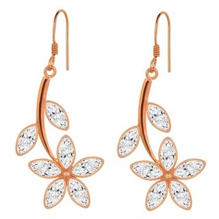 Orchid Jewelry .925 Sterling Silver 8 1/5ct. Marquise-cut White Topaz Gemstone Flower Earrings
