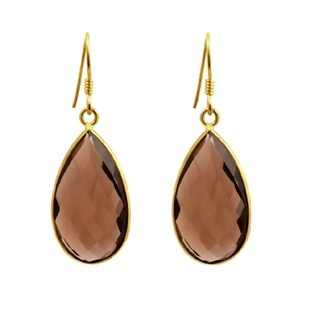 Orchid Jewelry Gold Overlay Sterling Silver 31ct Smoky Quartz Dangle Earring