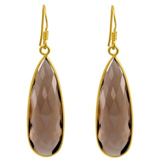 Orchid Jewelry 14k Gold Overlay Sterling Silver 33 Ct. Genuine Smoky Quartz Dangle Earrings