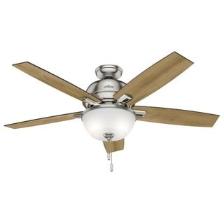 "Hunter Fan Donegan Collection 52"" Brushed Nickel w/5 Distressed Oak/Dark Walnut Reversible Blades"