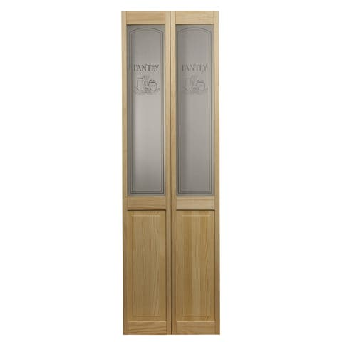 AWC 647 Pantry Glass 24-inch x 80.5-inch Unfinished Bifold Door