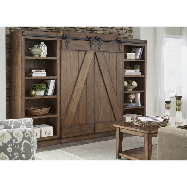 Lancaster II Antique Brown Modern Farmhouse Entertainment Center With Piers