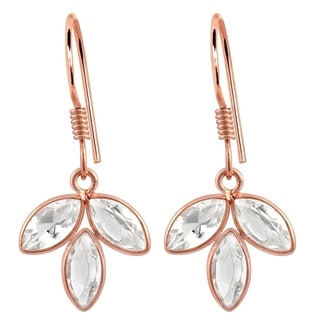 Orchid Jewelry Rose Gold Overlay Sterling Silver 4ct. TGW Genuine White Topaz Bridal Earrings
