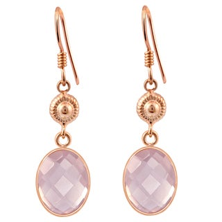 Orchid Jewelry Rose Gold Over Silver 8ct TGW Genuine Rose Quartz Oval Briolite Earring
