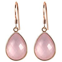 Orchid Jewelry Rose Gold Overlay Sterling Silver 19 Carat Genuine Rose Quartz Dangle Earring
