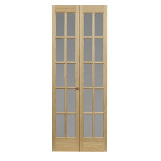 AWC 627 Traditional Divided Frosted Glass 32-inch x 80.5-inch Unfinished Bifold Door