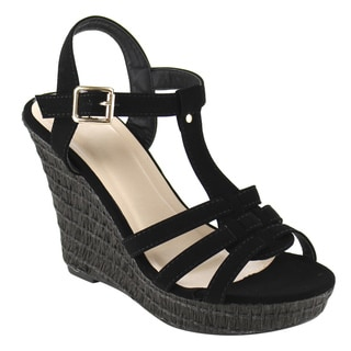 Beston T-Strap Wedge Sandals