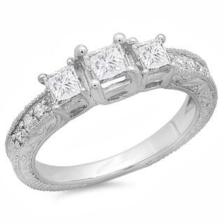 Elora 14k White Gold 1ct TDW Princess and Round Diamond 3-stone Engagement Ring (H-I, I1-I2)