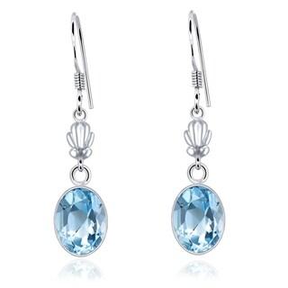 Orchid Jewelry 925 Sterling Silver 10.25ct TGW Genuine Blue Topaz Oval Shape Earring