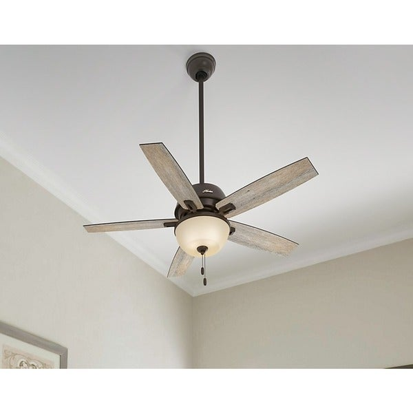 """Hunter Isleworth 54 Onyx Bengal Ceiling Fan With Light At: Hunter Fan Donegan Collection 52"""" Onyx Bengal W/5 Barnwood"""