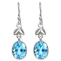8 1/4ct. Natural Blue Topaz 925 Sterling Silver Dangle Earrings