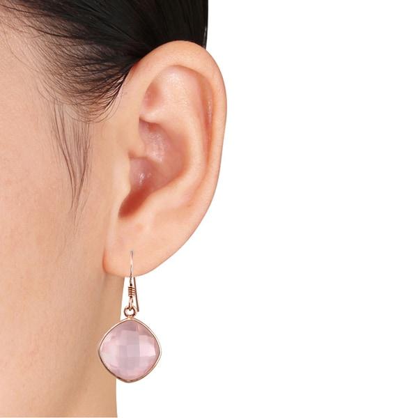 925 Sterling Silver Polished Pink Quartz Dangle Post Earrings