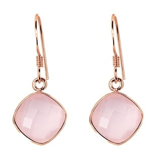 Orchid Jewelry Pink Gold Over Sterling Silver 19ct. TGW Cushion-cut Rose Quartz Gemstone Wedding Earrings