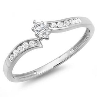 Elora 14k White Gold 1/5ct TDW Marquise and Round Diamond Swirl Engagement Ring (I-J, I2-I3)