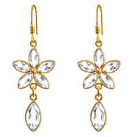 Orchid Jewelry 18k Yellow Gold Overlay 925 Sterling Silver 10ct. Genuine White Topaz Gemstone Dangle Earrings