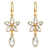 Orchid Jewelry Gold Overlay 10ct. Genuine White Topaz Earrings in Sterling Silver