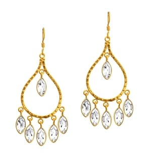 Orchid Jewelry 18k Yellow Gold Over Sterling Silver 14ct. TGW Genuine White Topaz Bridal Earrings