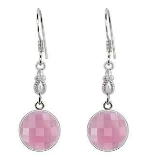 Orchid Jewelry 925 Sterling Silver 6 1/2ct. TGW Genuine Round Rose Quartz Gemstone Wedding Earrings