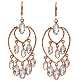 Orchid Jewelry Rose Gold Overlay Sterling Silver 16ct Marquise-cut White Topaz Dangle Earrings