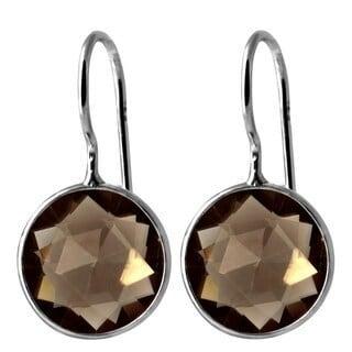 Orchid Jewelry 925 Sterling Silver 8 1/4ct. TGW Genuine Smoky Quartz Gemstone Wedding Earrings