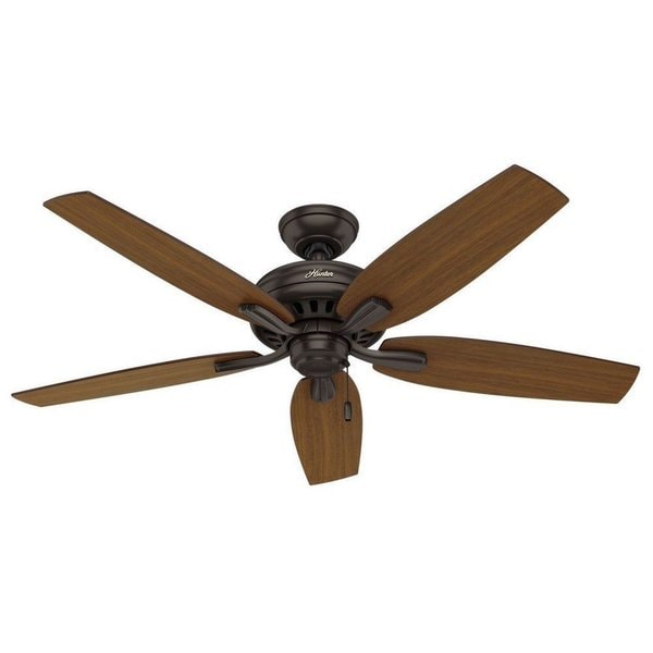 "Hunter 52"" Newsome Outdoor Ceiling Fan with Pull Chain, Damp Rated - Premier Bronze"