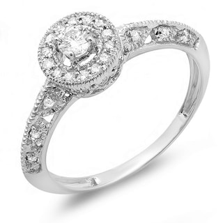 Elora 14k White or Rose Gold 2/5ct TDW Round Diamond Bridal Halo Vintage Milgrain Engagement Ring (H-I, I1
