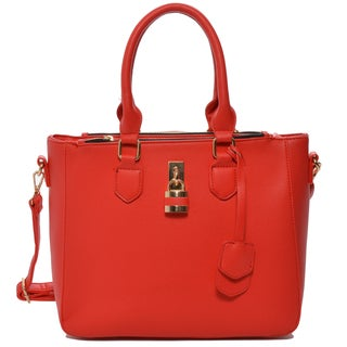Mechaly 'Aimee' Red Vegan Leather Shoulder Handbag