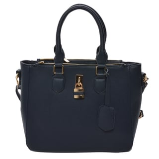 Mechaly 'Aimee' Blue Vegan Leather Shoulder Handbag
