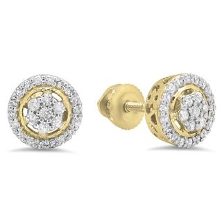 Elora 10k Gold 1/3ct TDW White Diamond Cluster Flower Stud Earrings (I-J, I2-I3)