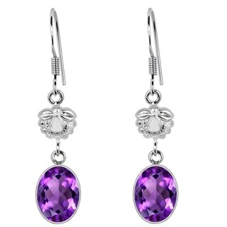 Orchid Jewelry 925 Sterling Silver 5 Carat Amethyst Dangle Hook Earrings