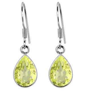 Orchid Jewelry .925 Sterling Silver 3 3/4ct. Lemon Quartz Gemstone Dangle Earrings