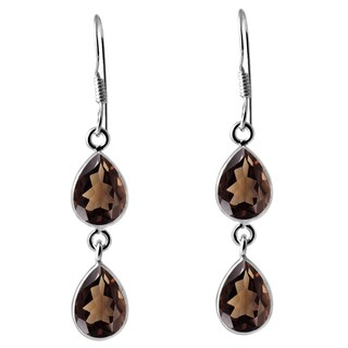 Orchid Jewelry 925 Sterling Silver 7ct. Smoky Quartz Gemstone Dangle Earrings