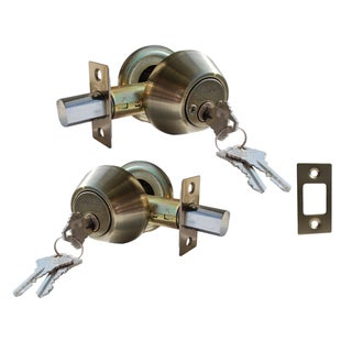 Deadbolt Door Lock Set with Double Cylinder Finish: Antique Bronze|https://ak1.ostkcdn.com/images/products/11679601/P18606999.jpg?_ostk_perf_=percv&impolicy=medium