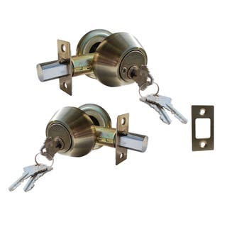 Deadbolt Door Lock Set with Double Cylinder Finish: Antique Bronze|https://ak1.ostkcdn.com/images/products/11679601/P18606999.jpg?impolicy=medium