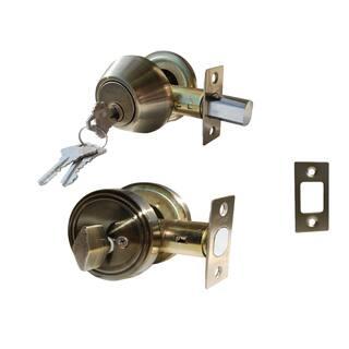 Deadbolt Door Lock Set with Single Cylinder Finish: Antique Bronze|https://ak1.ostkcdn.com/images/products/11679602/P18607000.jpg?impolicy=medium