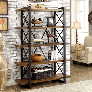Carbon Loft Ehrlich Industrial Medium Weathered Oak 5-tier Display Shelf