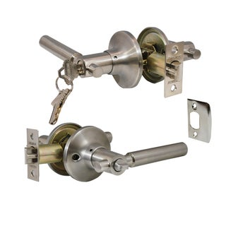 """Rondo"" Entry Lever Door Lock with Knob Handle Lockset, Satin Nickel Finish"