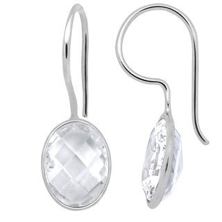 Orchid Jewelry 925 Sterling Silver 11.58ct TGW Genuine White Topaz  Earring