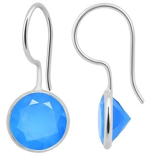 Orchid Jewelry 925 Sterling Silver 10.50ct TGW Genuine Chalcedony Earring