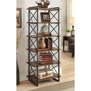 Furniture of America Collins Industrial Medium Weathered Oak 6-tier Display Shelf|https://ak1.ostkcdn.com/images/products/11679623/P18607015.jpg?impolicy=medium