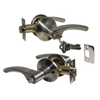 """Etude"" Entry Lever Door Lock with Knob Handle Lockset, Satin Nickel Finish"